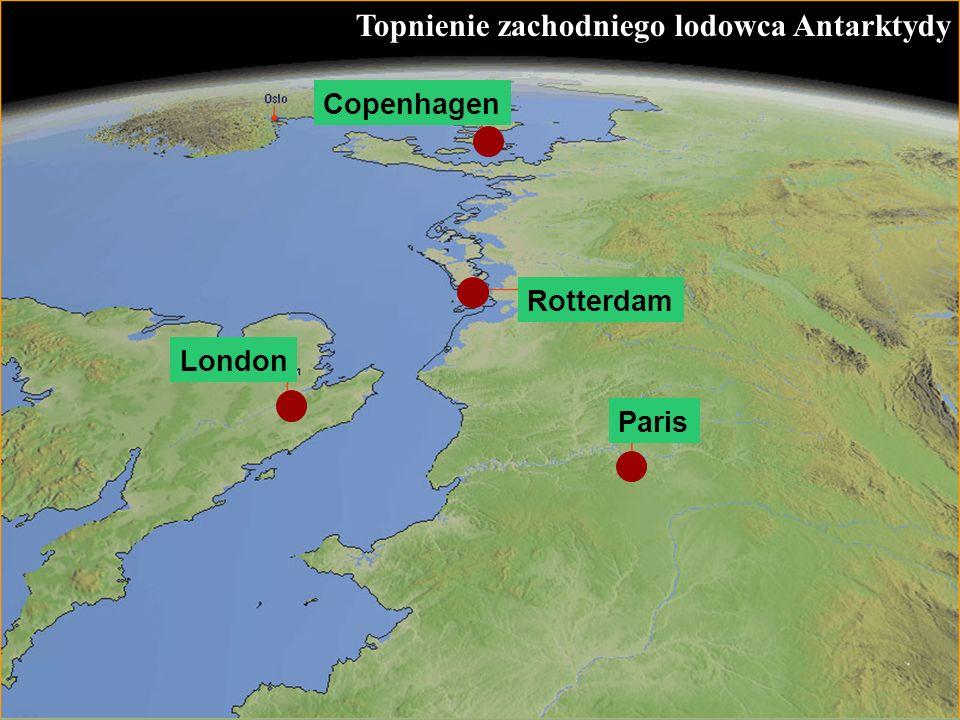 62 Topnienie zachodniego lodowca Antarktydy Rotterdam London Copenhagen Paris