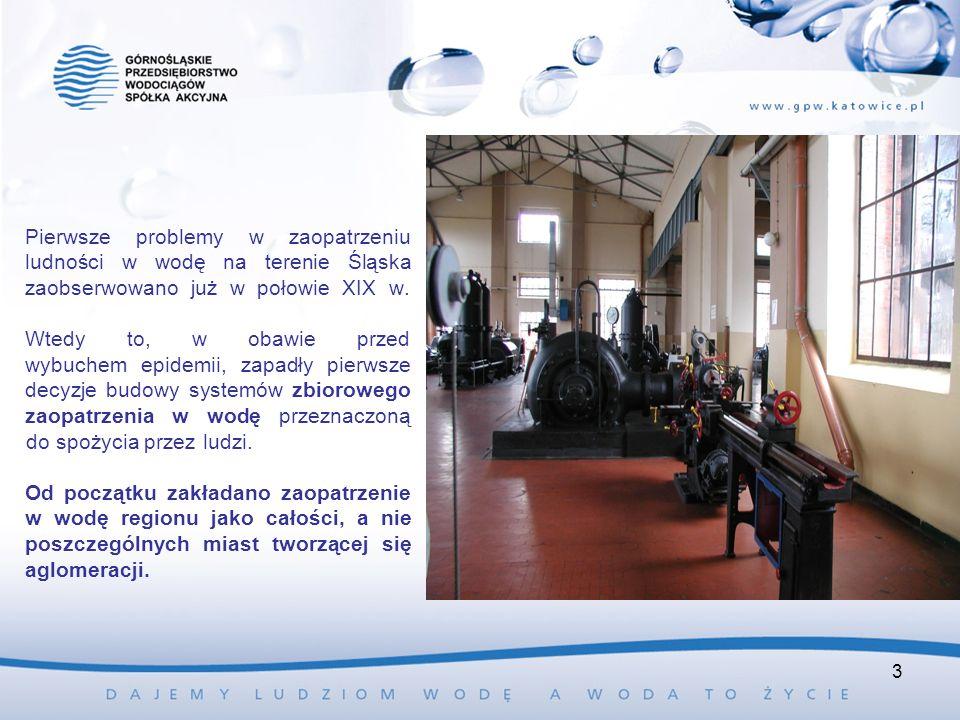 Pierwsze problemy w zaopatrzeniu ludności w wodę na terenie Śląska zaobserwowano już w połowie XIX w. Wtedy to, w obawie przed wybuchem epidemii, zapa