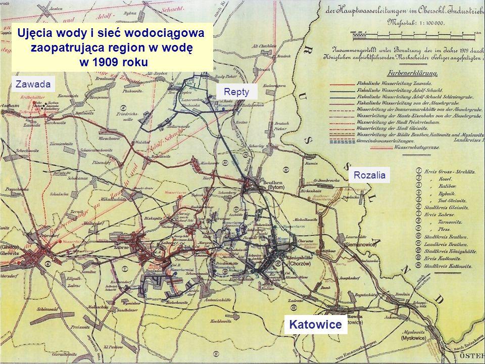 Ujęcia wody i sieć wodociągowa zaopatrująca region w wodę w 1909 roku Zawada Repty Rozalia Katowice