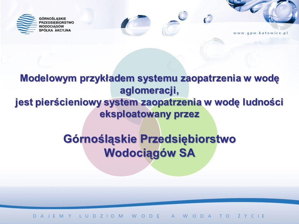 Modelowym przykładem systemu zaopatrzenia w wodę aglomeracji, jest pierścieniowy system zaopatrzenia w wodę ludności eksploatowany przez Górnośląskie