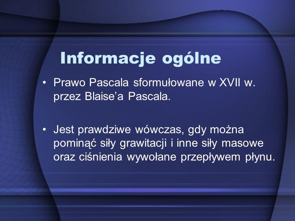 Informacje ogólne Prawo Pascala sformułowane w XVII w.