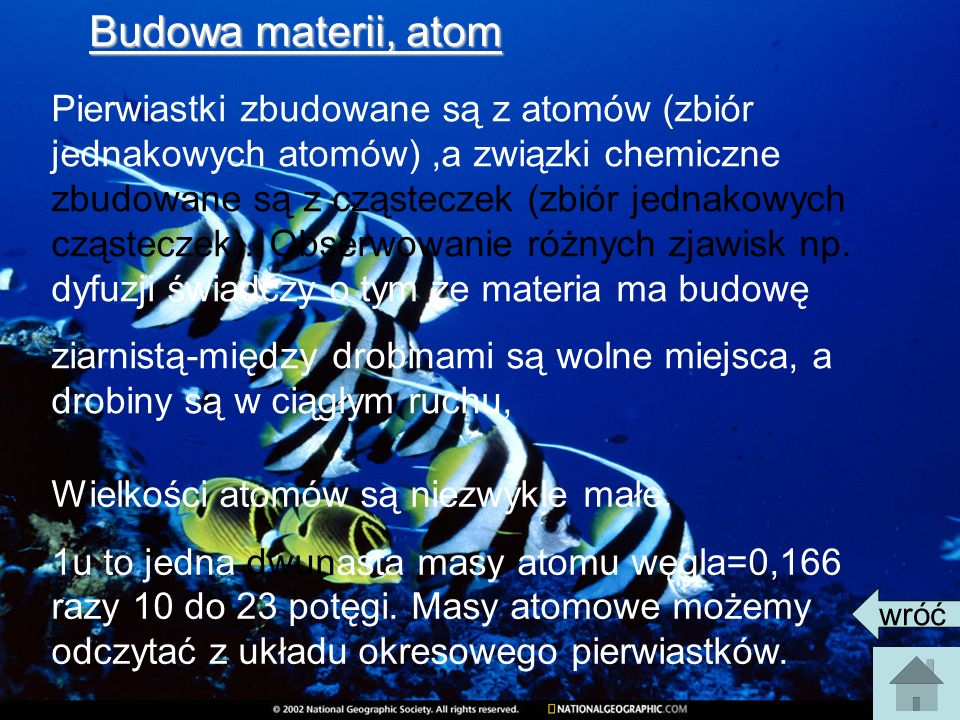 Budowa materii, atom Pierwiastki zbudowane są z atomów (zbiór jednakowych atomów),a związki chemiczne zbudowane są z cząsteczek (zbiór jednakowych cząsteczek).