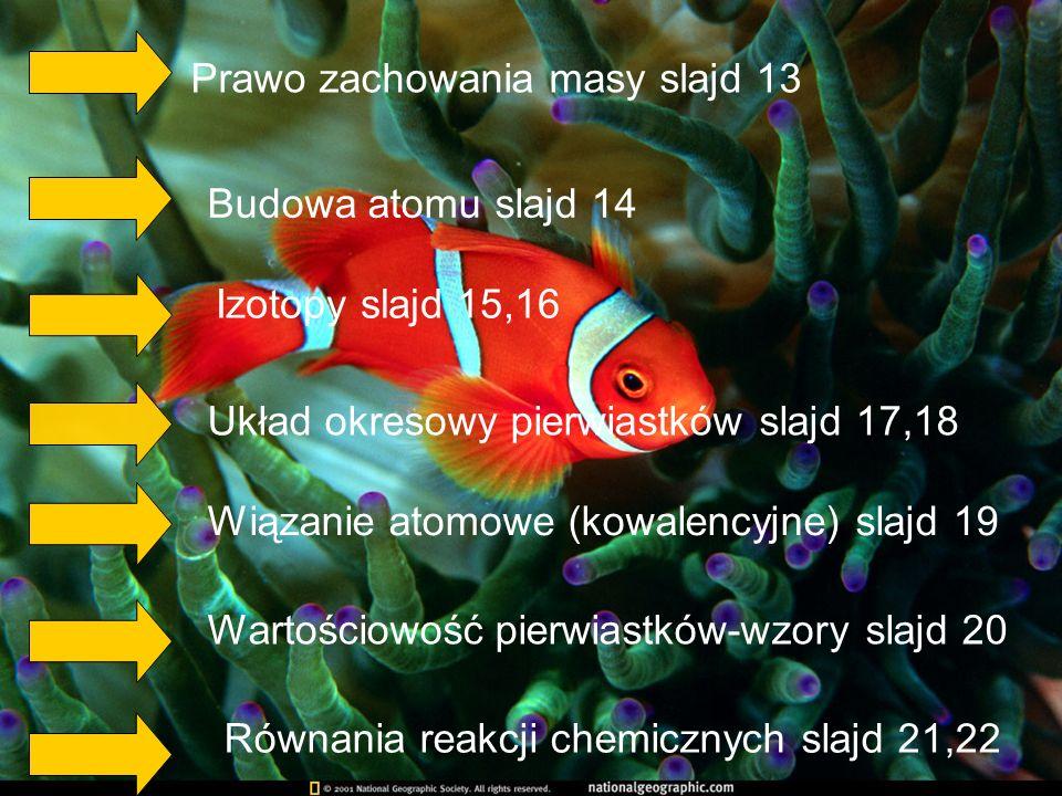 Prawo zachowania masy slajd 13 Budowa atomu slajd 14 Izotopy slajd 15,16 Układ okresowy pierwiastków slajd 17,18 Wiązanie atomowe (kowalencyjne) slajd 19 Wartościowość pierwiastków-wzory slajd 20 Równania reakcji chemicznych slajd 21,22