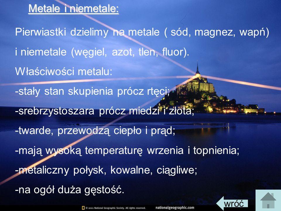 Zastosowanie niektórych metali: Żelazo Żelazo-wchodzi w skład wielu ważnych dla życia organizmu barwników Glin Glin-stosowany na kable przez to że przewodzi prąd stosowany do aparatury chemicznej i przewodów; Cyna Cyna-stosowana do cynowania i jako składnik stopów; Rtęć Rtęć-używana do wyrobu lamp kwarcowych i termometrów; Ołów Ołów-używany do płyt akumulatorowych (wyrób).