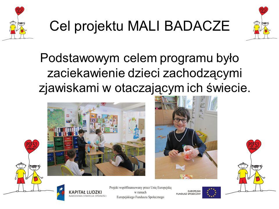Cel projektu MALI BADACZE Podstawowym celem programu było zaciekawienie dzieci zachodzącymi zjawiskami w otaczającym ich świecie.
