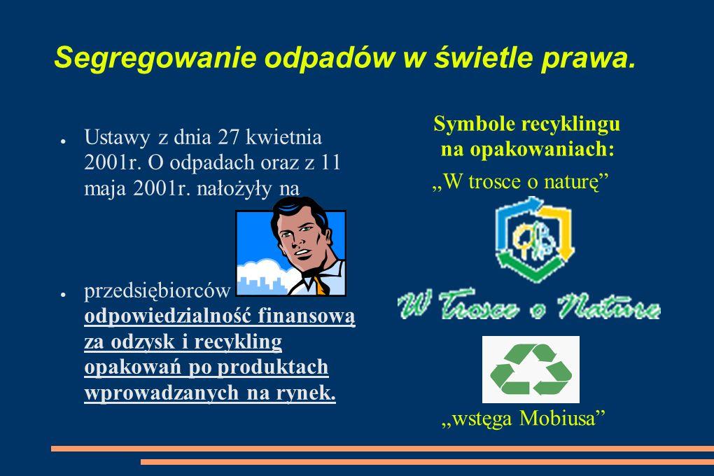 Segregowanie odpadów w świetle prawa. Ustawy z dnia 27 kwietnia 2001r. O odpadach oraz z 11 maja 2001r. nałożyły na przedsiębiorców odpowiedzialność f