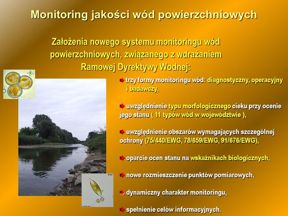 Założenia nowego systemu monitoringu wód powierzchniowych, związanego z wdrażaniem Ramowej Dyrektywy Wodnej: Monitoring jakości wód powierzchniowych t
