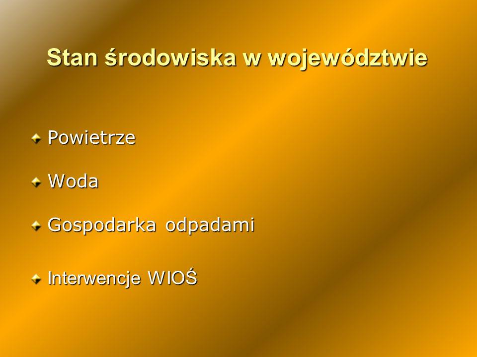 Instalacje IPPC Nr branż wynikający z aneksu do dyrektywy IPPC i z rozporządzenia MŚ z 26.07.2002 Liczba instalacji w poszczególnych WIOŚ, w podziale na branże Dolnośląskie Kujawsko-pomorskie Lubelskie Lubuskie Łódzkie Małopolskie Mazowieckie Opolskie Podkarpackie Podlaskie Pomorskie Śląskie Świętokrzyskie Wielkopolskie Warmińsko-Mazurskie Zachodnio-pomorskie Ogółem Przemysł energetyczny - spalanie paliw24211521617381315813648217 303 Hutnictwo i przemysł metalurgiczny401766103222525267382547288 Przemysł mineralny228247 2534295315372935112346 Przemysł chemiczny5038134112515423101355223017339 Gospodarka odpadami:72402622324369302413357517202243584 Inne:469634395330107541933451122126742981097 RAZEM 254220118801461722851731675711741685391861882957