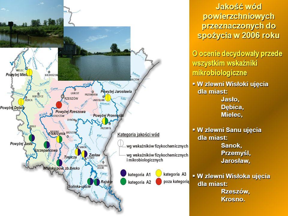 Jakość wód powierzchniowych przeznaczonych do spożycia w 2006 roku O ocenie decydowały przede wszystkim wskaźniki mikrobiologiczne W zlewni Wisłoki uj