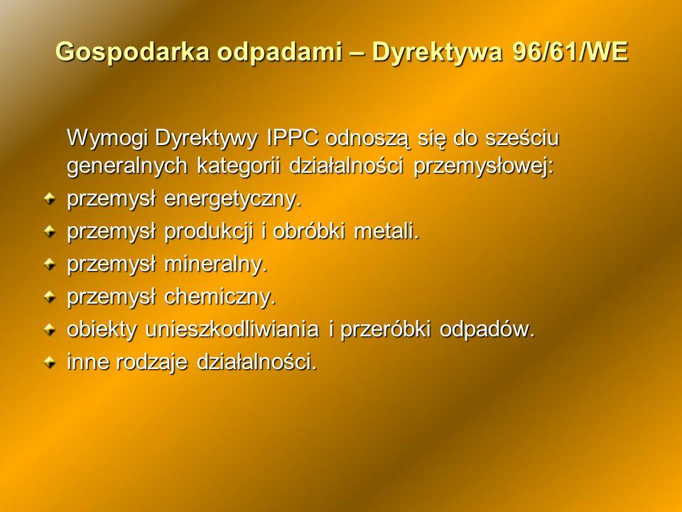 Wymogi Dyrektywy IPPC odnoszą się do sześciu generalnych kategorii działalności przemysłowej: przemysł energetyczny. przemysł produkcji i obróbki meta