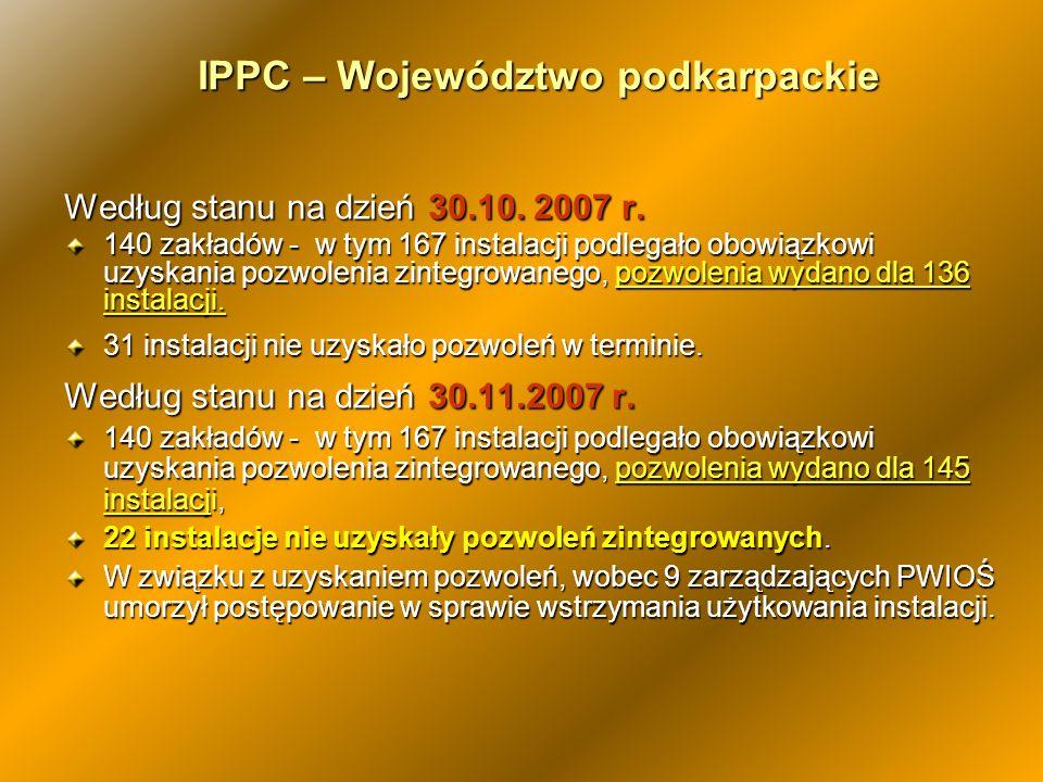 IPPC – Województwo podkarpackie Według stanu na dzień 30.10. 2007 r. 140 zakładów - w tym 167 instalacji podlegało obowiązkowi uzyskania pozwolenia zi