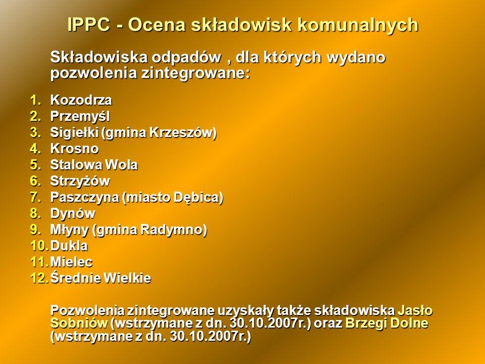 IPPC - Ocena składowisk komunalnych Składowiska odpadów, dla których wydano pozwolenia zintegrowane: 1.Kozodrza 2.Przemyśl 3.Sigiełki (gmina Krzeszów)