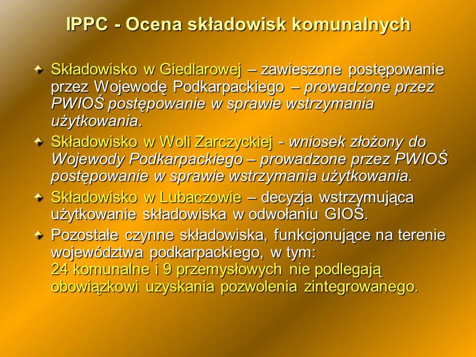 Składowisko w Giedlarowej – zawieszone postępowanie przez Wojewodę Podkarpackiego – prowadzone przez PWIOŚ postępowanie w sprawie wstrzymania użytkowa