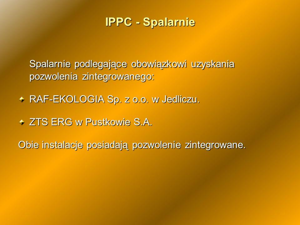 IPPC - Spalarnie Spalarnie podlegające obowiązkowi uzyskania pozwolenia zintegrowanego: RAF-EKOLOGIA Sp. z o.o. w Jedliczu. ZTS ERG w Pustkowie S.A. O