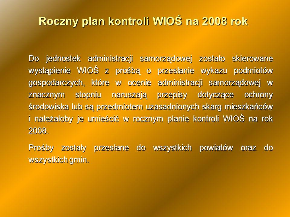 Roczny plan kontroli WIOŚ na 2008 rok Do jednostek administracji samorządowej zostało skierowane wystąpienie WIOŚ z prośbą o przesłanie wykazu podmiot