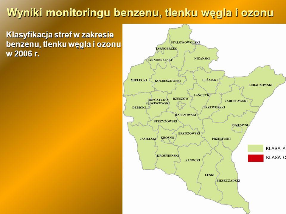 Stężenia średnioroczne benzenu w wybranych miastach woj.
