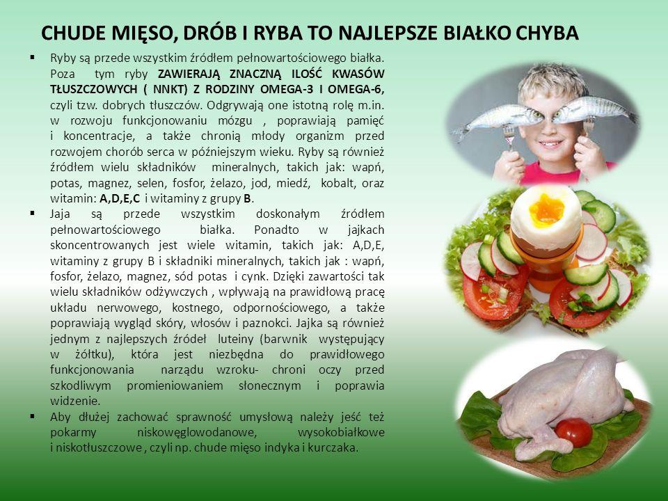 CHUDE MIĘSO, DRÓB I RYBA TO NAJLEPSZE BIAŁKO CHYBA Ryby są przede wszystkim źródłem pełnowartościowego białka. Poza tym ryby ZAWIERAJĄ ZNACZNĄ ILOŚĆ K