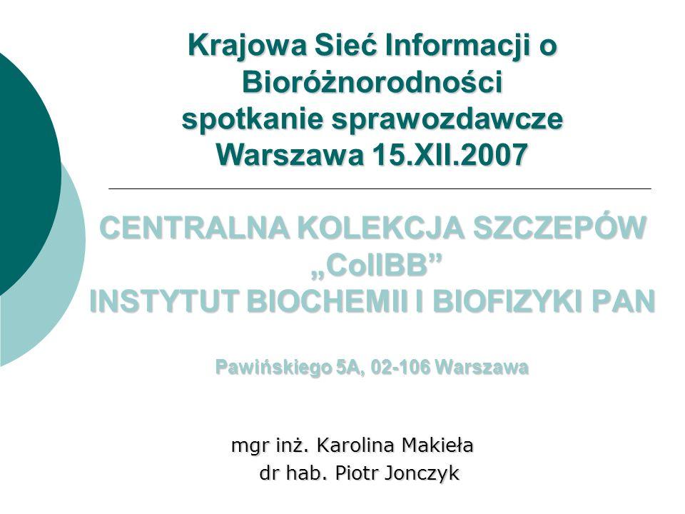 http://kolekcja.ibb.waw.pl/ 2000 r Zbiór unikalnych szczepów skonstruowanych przez pracowników i studentów IBB Źródło informacji