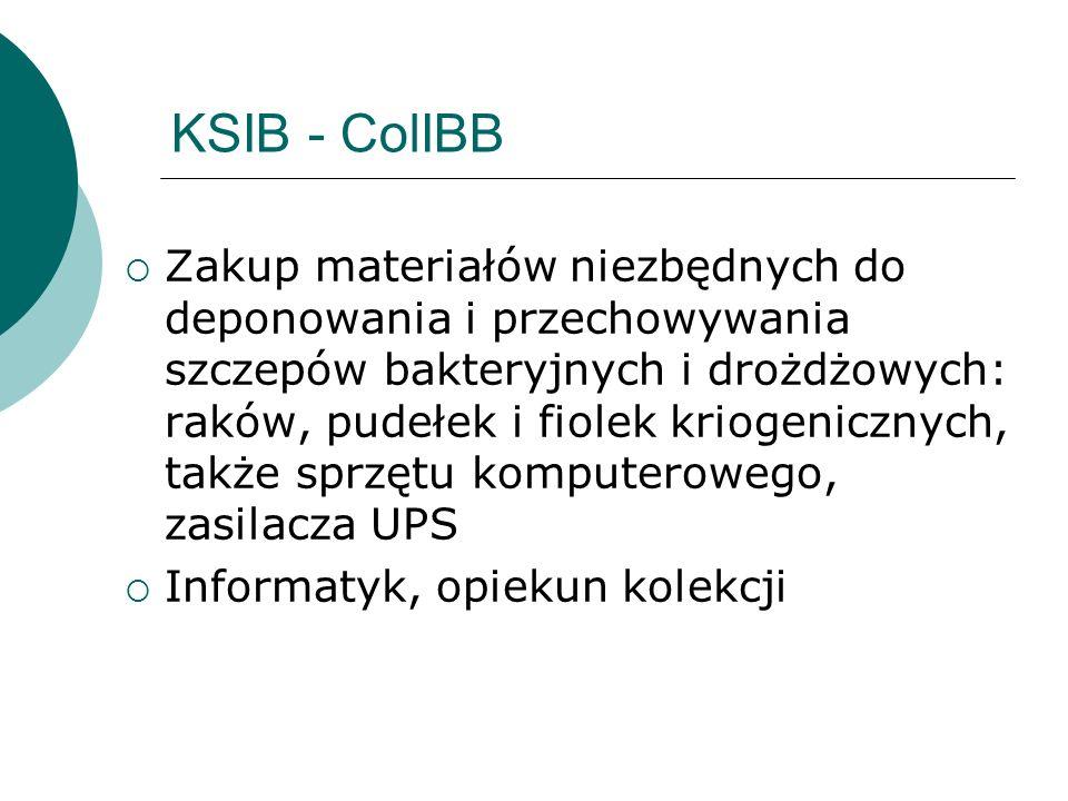 KSIB - ColIBB Zakup materiałów niezbędnych do deponowania i przechowywania szczepów bakteryjnych i drożdżowych: raków, pudełek i fiolek kriogenicznych, także sprzętu komputerowego, zasilacza UPS Informatyk, opiekun kolekcji