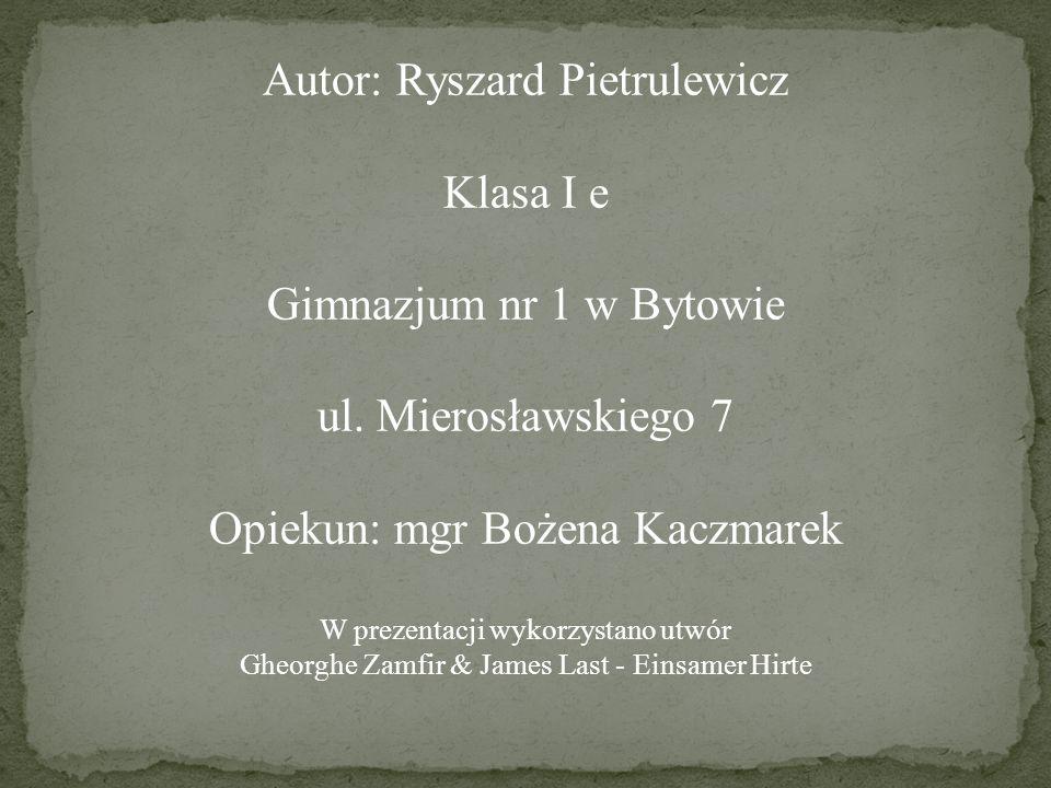 Autor: Ryszard Pietrulewicz Klasa I e Gimnazjum nr 1 w Bytowie ul. Mierosławskiego 7 Opiekun: mgr Bożena Kaczmarek W prezentacji wykorzystano utwór Gh