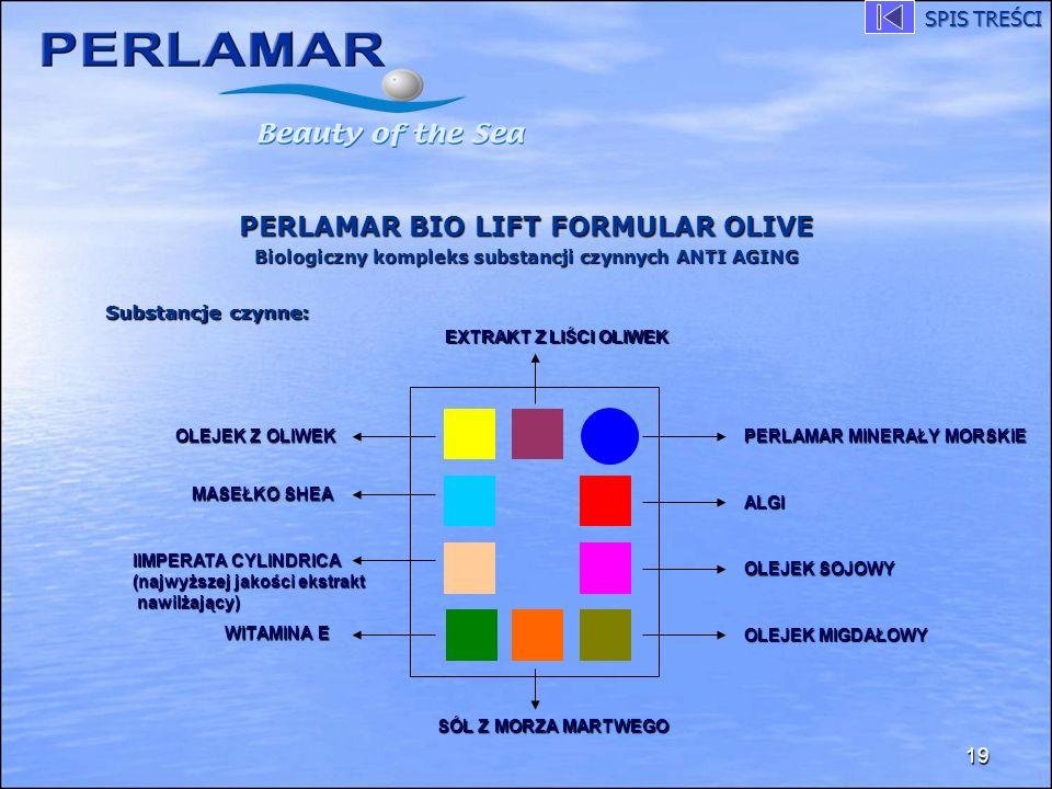 PERLAMAR BIO LIFT FORMULAR OLIVE Biologiczny kompleks substancji czynnych ANTI AGING 19 EXTRAKT Z LIŚCI OLIWEK PERLAMAR MINERAŁY MORSKIE WITAMINA E AL