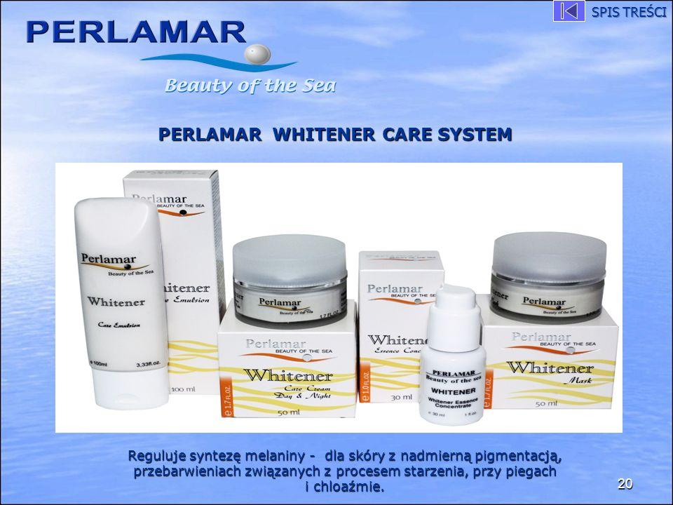 20 PERLAMAR WHITENER CARE SYSTEM Reguluje syntezę melaniny - dla skóry z nadmierną pigmentacją, przebarwieniach związanych z procesem starzenia, przy