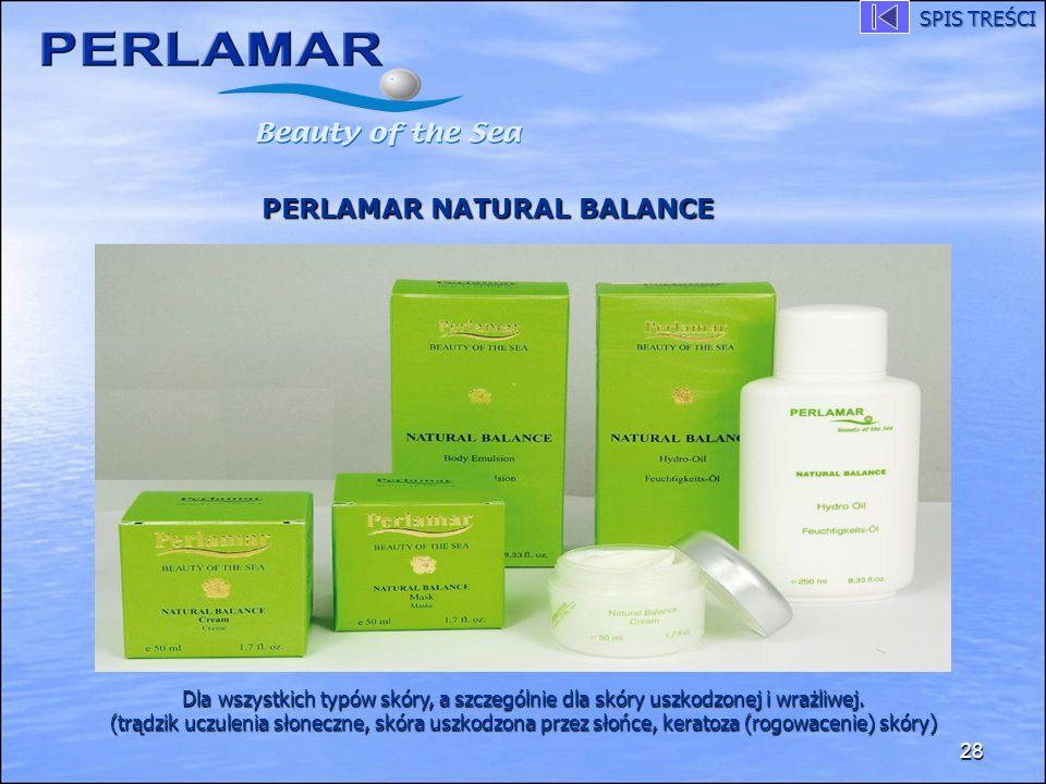 28 PERLAMAR NATURAL BALANCE Dla wszystkich typów skóry, a szczególnie dla skóry uszkodzonej i wrażliwej. (trądzik uczulenia słoneczne, skóra uszkodzon