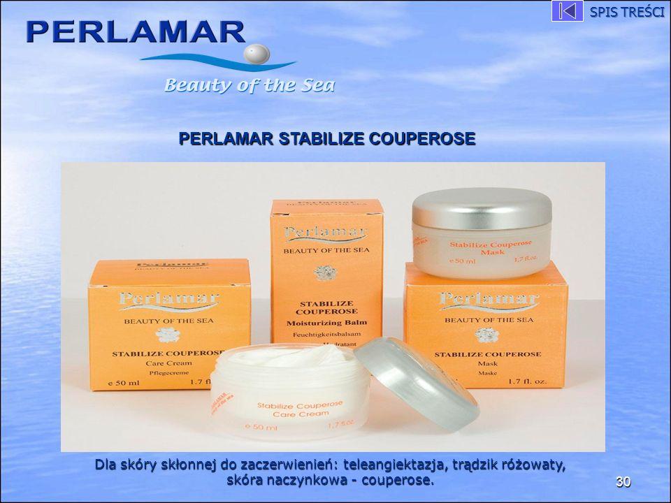 30 PERLAMAR STABILIZE COUPEROSE Dla skóry skłonnej do zaczerwienień: teleangiektazja, trądzik różowaty, skóra naczynkowa - couperose. SPIS TREŚCI