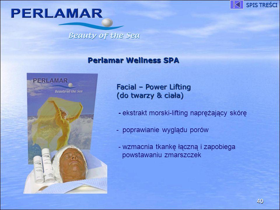 40 Perlamar Wellness SPA Facial – Power Lifting (do twarzy & ciała) - ekstrakt morski-lifting naprężający skórę - poprawianie wyglądu porów - wzmacnia