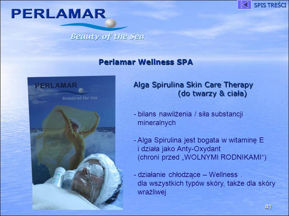 41 Perlamar Wellness SPA Alga Spirulina Skin Care Therapy (do twarzy & ciała) - bilans nawilżenia / siła substancji mineralnych - Alga Spirulina jest