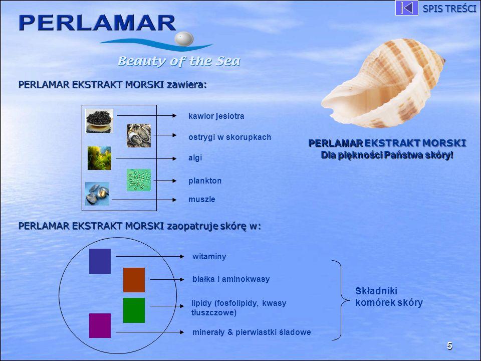 PERLAMAR EKSTRAKT MORSKI zawiera: PERLAMAR EKSTRAKT MORSKI zaopatruje skórę w: 5 kawior jesiotra ostrygi w skorupkach algi plankton muszle PERLAMAR EK