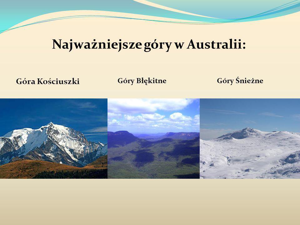 Najważniejsze góry w Australii: Góra Kościuszki Góry BłękitneGóry Śnieżne