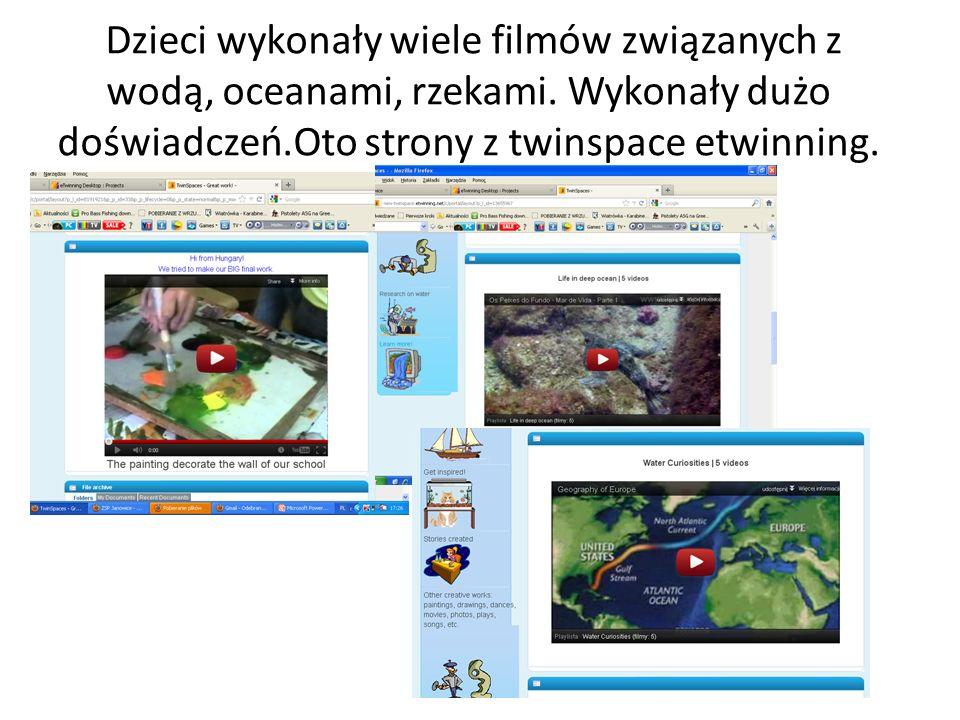 Dzieci wykonały wiele filmów związanych z wodą, oceanami, rzekami. Wykonały dużo doświadczeń.Oto strony z twinspace etwinning.