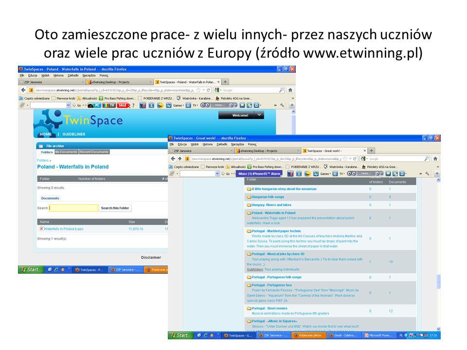 Oto zamieszczone prace- z wielu innych- przez naszych uczniów oraz wiele prac uczniów z Europy (źródło www.etwinning.pl)