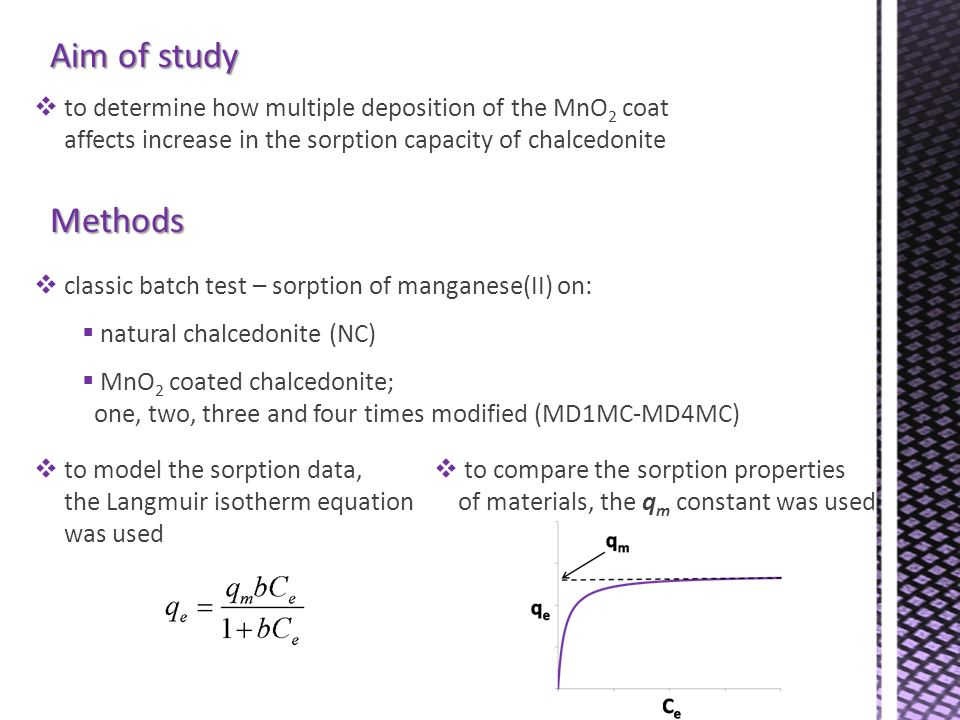 Aim of study to determine how multiple deposition of the MnO 2 coat affects increase in the sorption capacity of chalcedonite Methods classic batch te