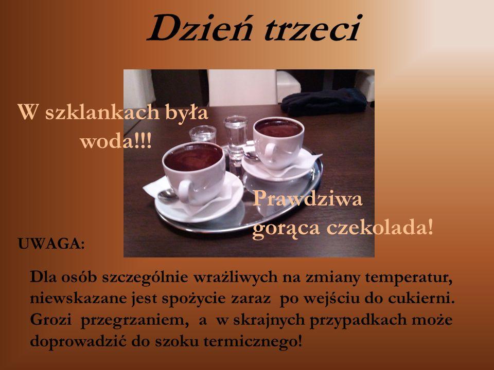 Prawdziwa gorąca czekolada! Dla osób szczególnie wrażliwych na zmiany temperatur, niewskazane jest spożycie zaraz po wejściu do cukierni. Grozi przegr