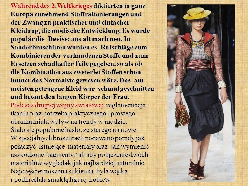 Während des 2.Weltkrieges diktierten in ganz Europa zunehmend Stoffrationierungen und der Zwang zu praktischer und einfacher Kleidung, die modische En