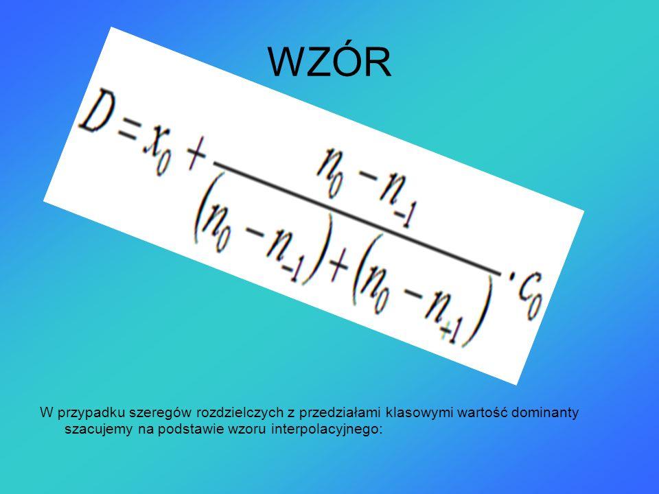WZÓR W przypadku szeregów rozdzielczych z przedziałami klasowymi wartość dominanty szacujemy na podstawie wzoru interpolacyjnego: