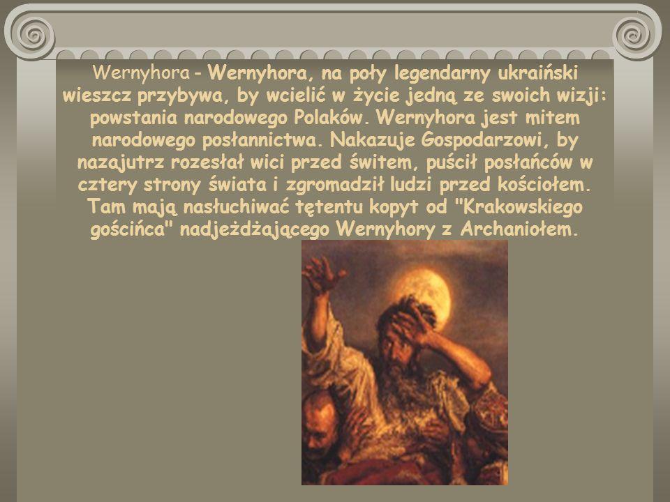 SYMBOLE W WESELU POSTACI: Chochoł Widmo Stańczyk Hetman Rycerz Czarny Upiór Wernyhora