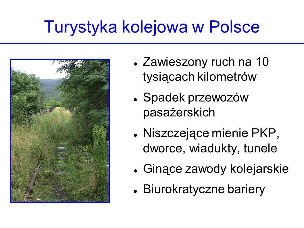 Turystyka kolejowa w Polsce Zawieszony ruch na 10 tysiącach kilometrów Spadek przewozów pasażerskich Niszczejące mienie PKP, dworce, wiadukty, tunele