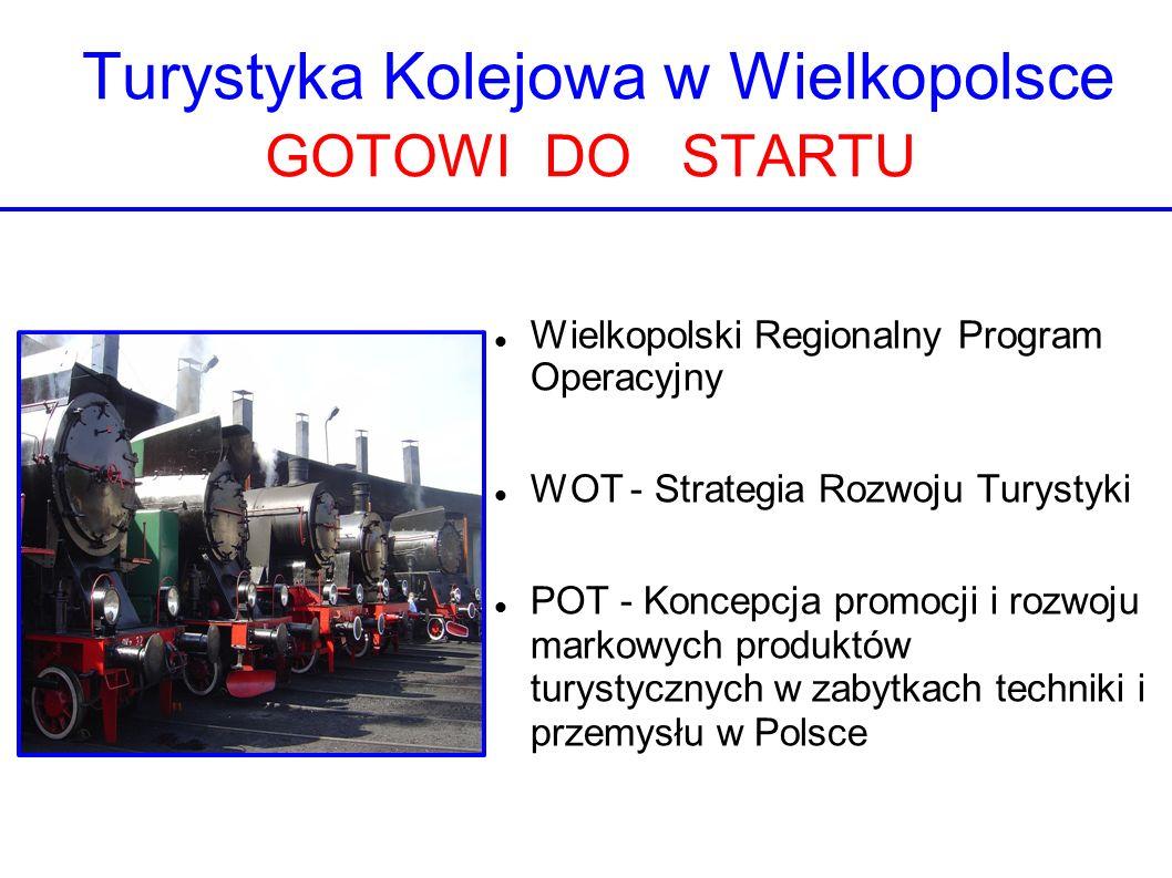 Turystyka Kolejowa w Wielkopolsce GOTOWI DO STARTU Wielkopolski Regionalny Program Operacyjny WOT - Strategia Rozwoju Turystyki POT - Koncepcja promoc
