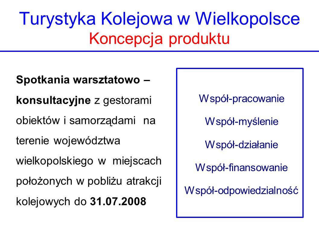 Turystyka Kolejowa w Wielkopolsce Koncepcja produktu Spotkania warsztatowo – konsultacyjne z gestorami obiektów i samorządami na terenie województwa w