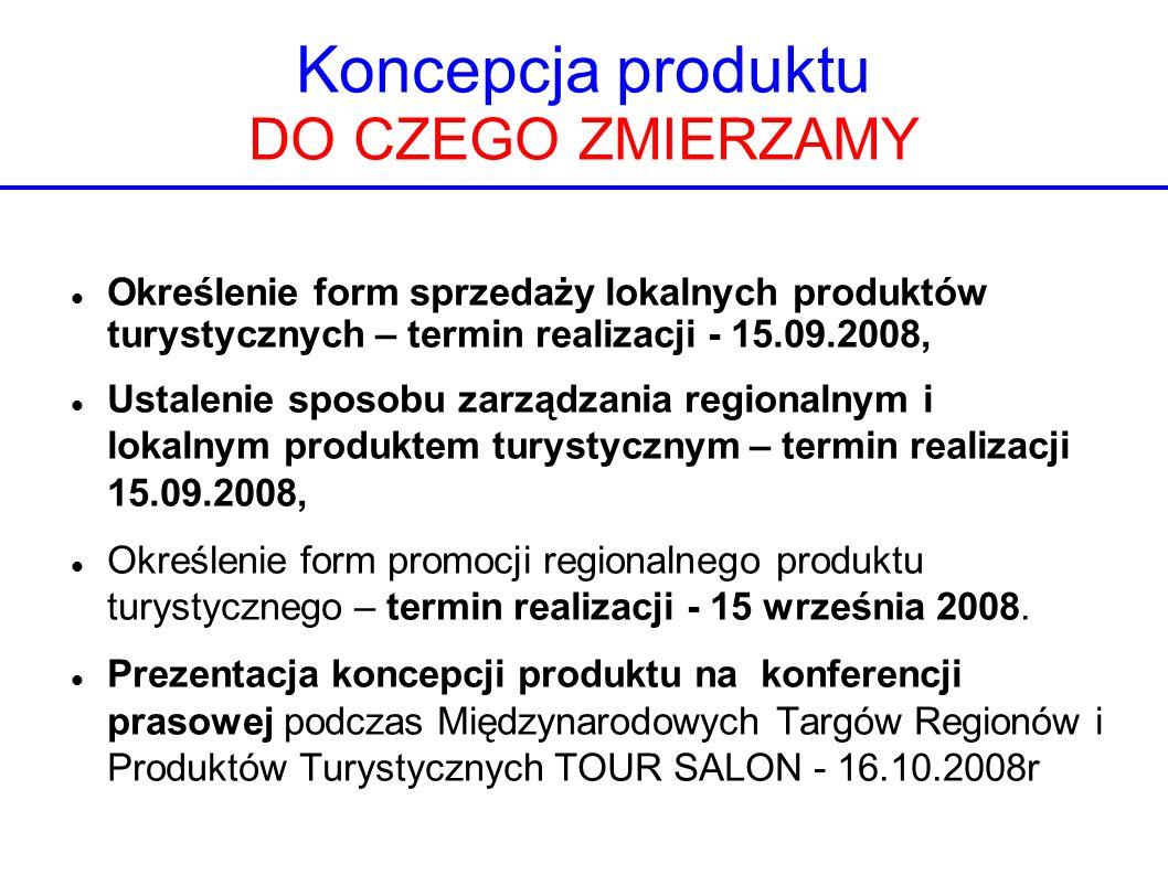 Koncepcja produktu DO CZEGO ZMIERZAMY Określenie form sprzedaży lokalnych produktów turystycznych – termin realizacji - 15.09.2008, Ustalenie sposobu