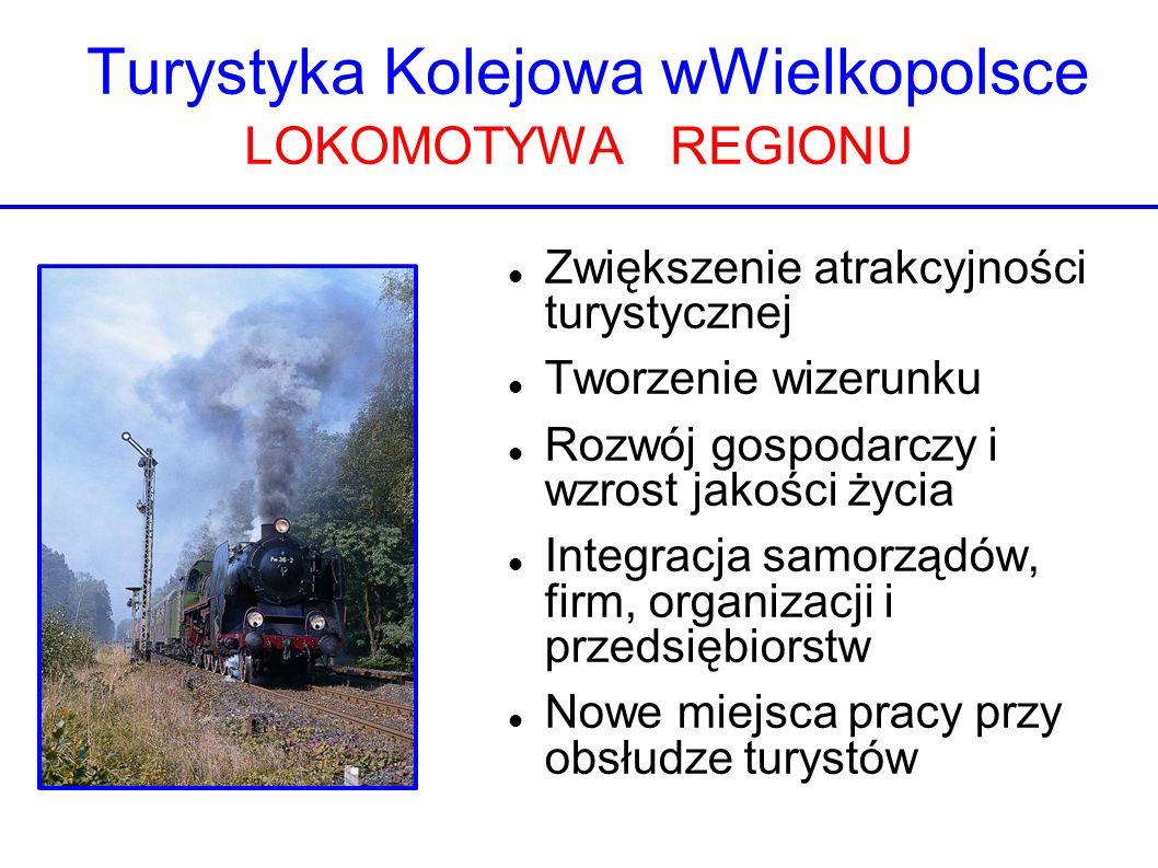 Turystyka Kolejowa wWielkopolsce LOKOMOTYWA REGIONU Zwiększenie atrakcyjności turystycznej Tworzenie wizerunku Rozwój gospodarczy i wzrost jakości życ