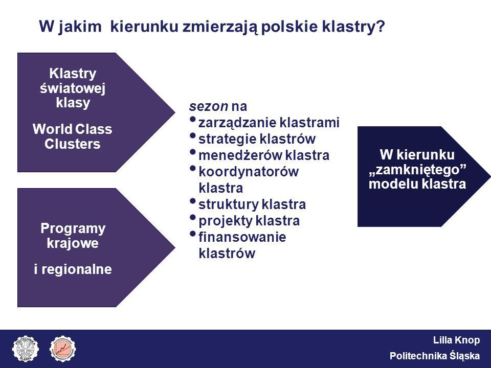 Lilla Knop Politechnika Śląska W jakim kierunku zmierzają polskie klastry? Klastry światowej klasy World Class Clusters sezon na zarządzanie klastrami