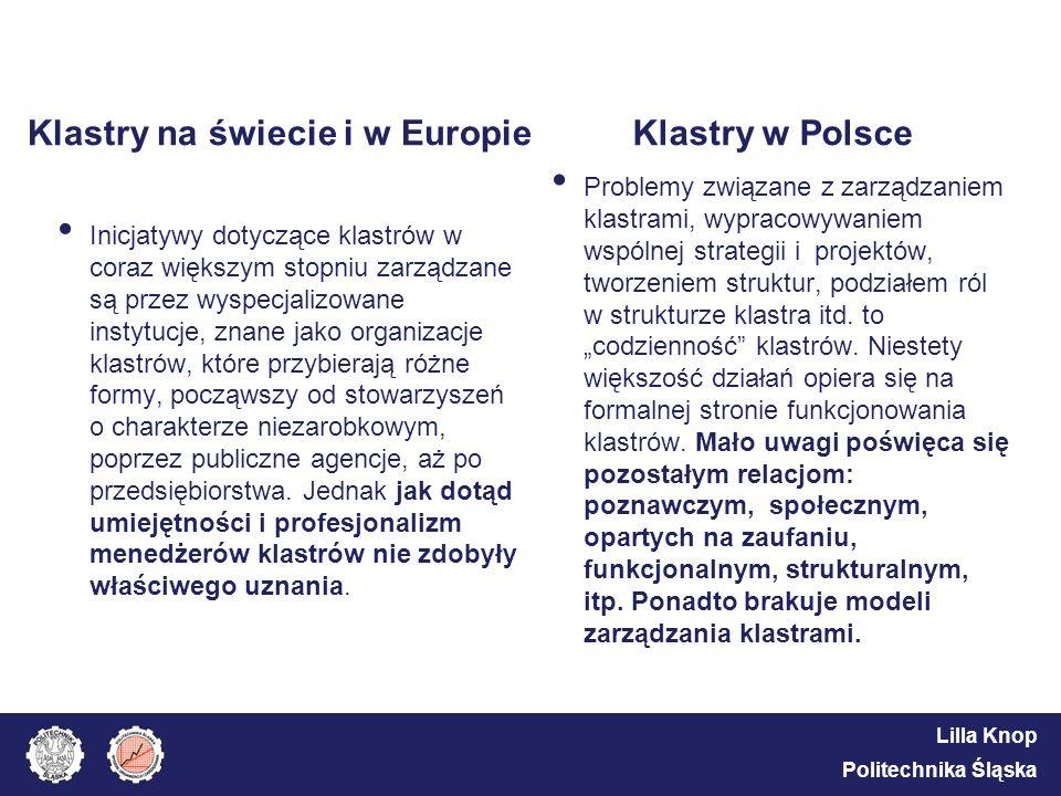 Lilla Knop Politechnika Śląska Klastry na świecie i w Europie Inicjatywy dotyczące klastrów w coraz większym stopniu zarządzane są przez wyspecjalizow
