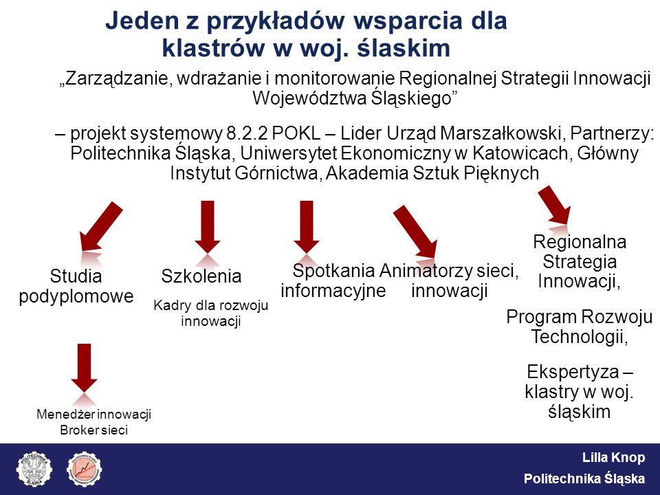 Lilla Knop Politechnika Śląska Jeden z przykładów wsparcia dla klastrów w woj. ślaskim Zarządzanie, wdrażanie i monitorowanie Regionalnej Strategii In