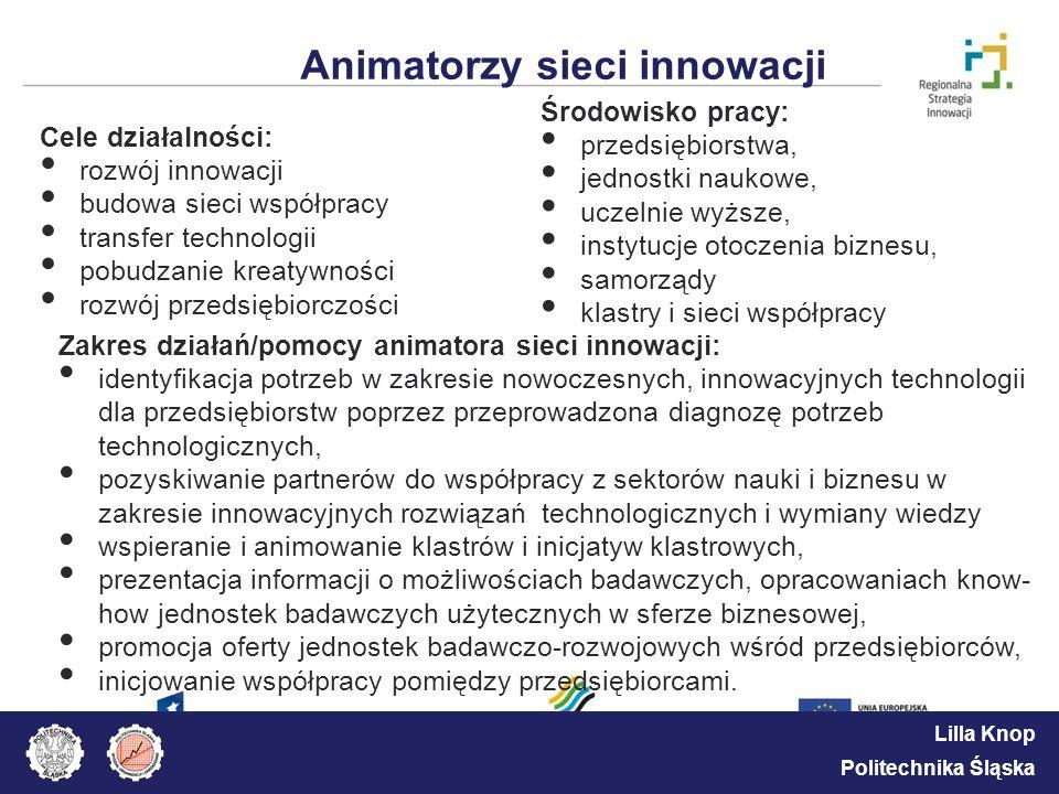 Lilla Knop Politechnika Śląska Animatorzy sieci innowacji Cele działalności: rozwój innowacji budowa sieci współpracy transfer technologii pobudzanie