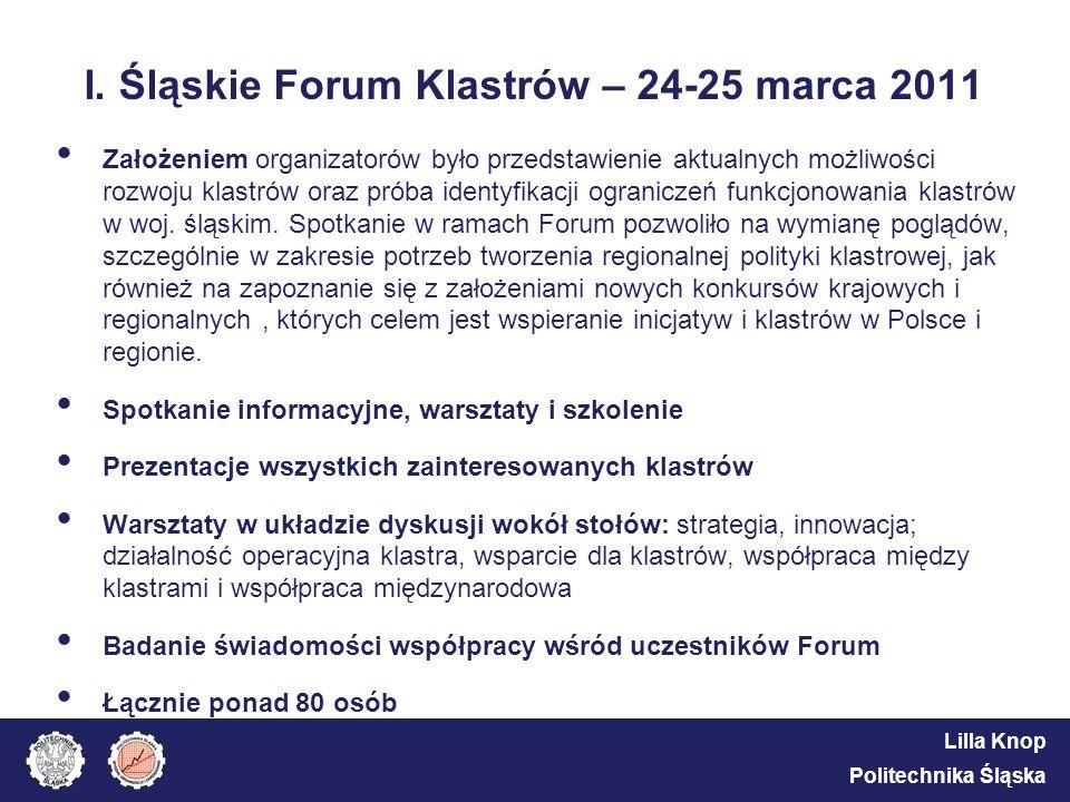Lilla Knop Politechnika Śląska I. Śląskie Forum Klastrów – 24-25 marca 2011 Założeniem organizatorów było przedstawienie aktualnych możliwości rozwoju