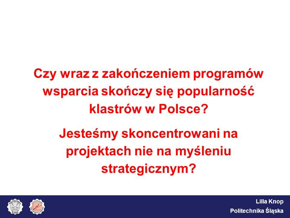 Lilla Knop Politechnika Śląska Czy wraz z zakończeniem programów wsparcia skończy się popularność klastrów w Polsce? Jesteśmy skoncentrowani na projek